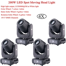 4Pcs/Lot NEW 200W LED Spot Moving Head Light 19/17 DMX Channels Lighting Effect Hot Sale Disco DJ Stage FlightcasePack