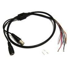 2pcs 80cm BNC Video DC12V Power OSD Control Pigtail Cable Analog CCTV Camera Module Board Menu Button end cable, black, white