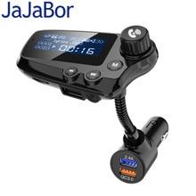 JaJaBor zestaw samochodowy Bluetooth 5.0 przekaźnik FM do zestawu głośnomówiącego odbiornik Audio AUX samochodowy odtwarzacz MP3 QC3.0 szybkie ładowanie 1.8 Cal LCD