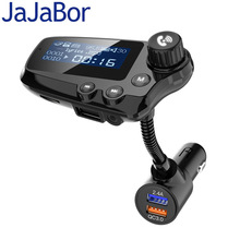 Jajabor Bluetooth 5.0 Handsfree Car Kit Fm zender Aux Audio Ontvanger Auto MP3 Speler QC3.0 Quick Charge 1.8 Inch Lcd display
