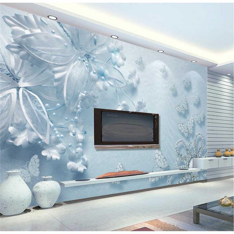 Beibehang Wall Paper Light Blue Diamond Flower Covering