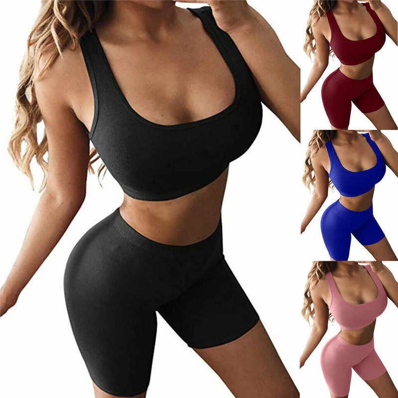 Wanita 2 Sepotong Set Tanaman Top & Celana Pendek Bodycon Pakaian Olahraga Latihan Pakaian 2019 Musim Panas Seksi Slim Beach Pesta Klub pakaian