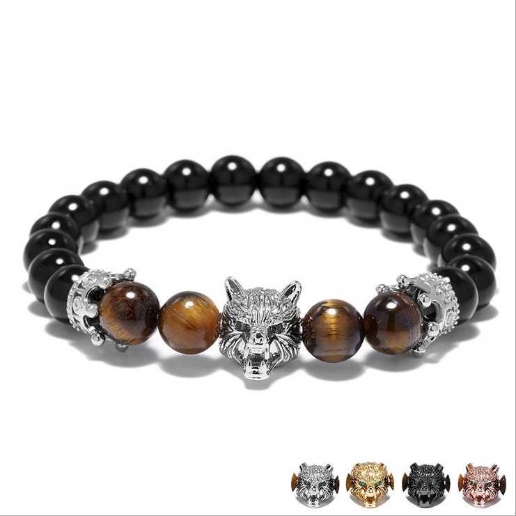 SEVENSTONE 2019 New Fashion Hip Hop 8MM Natural Stone Black Onyx Metal Wolf Head Crown Women Charm Bracelet Rock Jewelry for Men