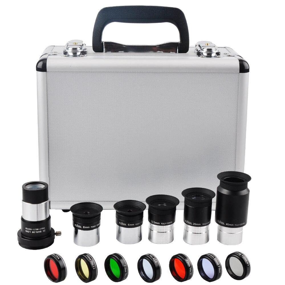 Télescope astronomique Kit D'accessoires, 6mm/8mm/12.5mm/20mm/40mm/Plossl Oculaire 2X lentille de Barlow, Sept couleurs planétaire filtres