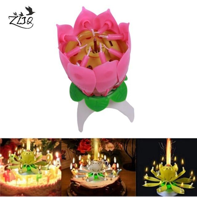 ZLJQ Happy Birthday Cake Topper Kerze Musik Geburtstag Lotus Blume Rotating  Candle Licht Valentinstag Party Kuchen