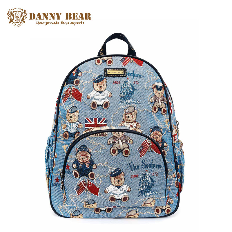 DANNY BEAR Fashion Blue School Backpacks For Teenager Girls Korean Vintage Women Designer Backpack Large Travel Back Pack Bags рюкзак danny bear db14859 3