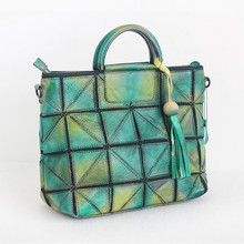Original Handmade 2017 Women Genuine Leather Bags Casual Totes Cowhide Lady Patchwork Panelled Tassel Handbag Large Shopping Bag