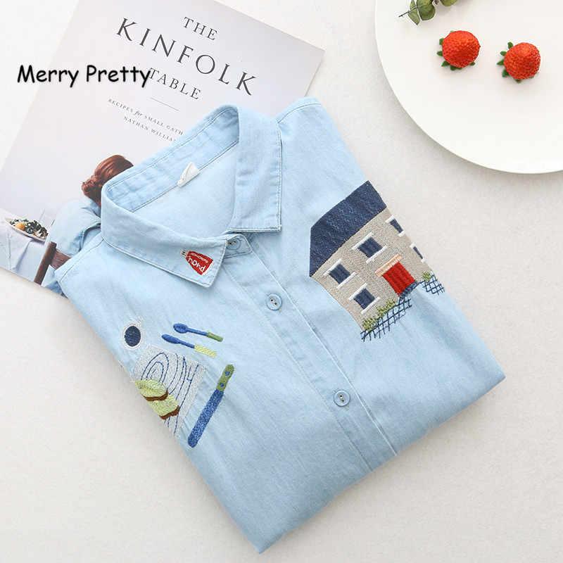 Веселое милое летнее джинсовое платье-рубашка, женское милое забавное домашнее платье с вышивкой, короткий рукав, отложной воротник, женское мини-синее платье
