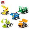 Enlighten 34 unids city series modelo de camión coche de bloques huecos de diy ensamblar ladrillos juguetes educativos para niños regalos de cumpleaños