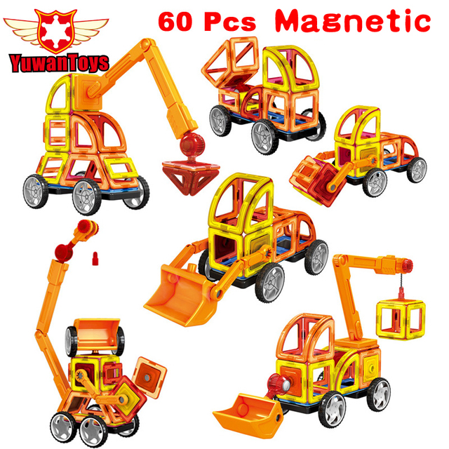 Мини 60 Шт./лот Магнитный Конструктор Construction Set Модели и Строительство Игрушки Пластиковые Образовательные Магнитные Игрушки Блоки Для Детей