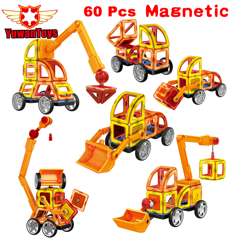 Mini 60Pcs Lot Magnetic Designer Construction Set Model Building Toy Plastic Educational Magnetic Blocks Toys For