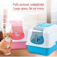 Закрытых животное кошачьих туалетов коробка туалет близко кошек Bedpans горшок Лотки Training Kuwety Dia кота Pet WC код 90Z2039