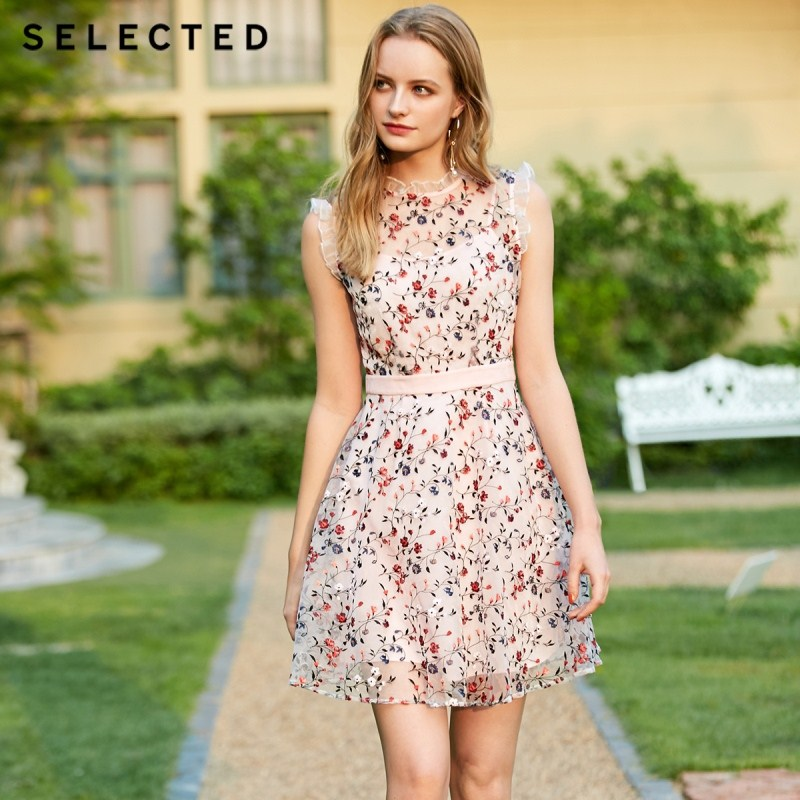 SELECTED Floral Embroidery Gauzy Dress S 41922J534