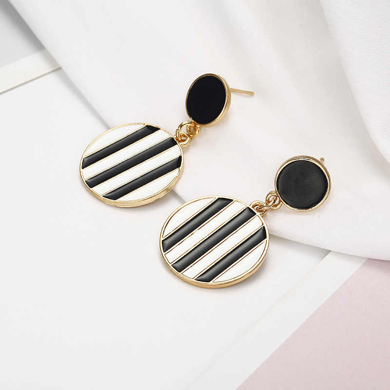 2018 New Fashion Classic Stripes Earring Metal Round Statement Drop Earrings For Women Brand Jewelry Brincos Dropshipping
