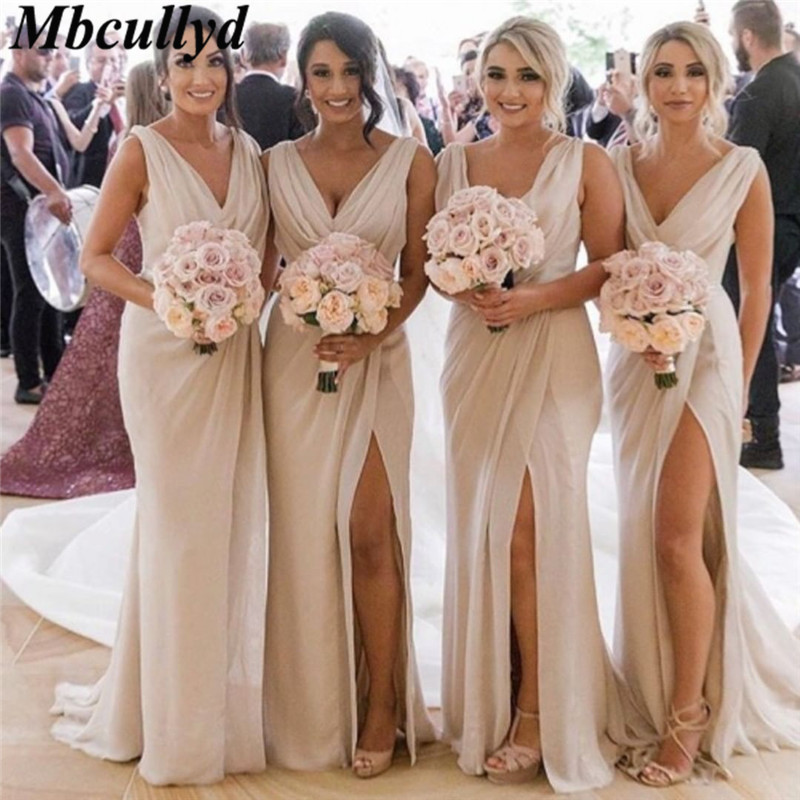 Mbcullyd Chiffon V-neck Bridesmaid Dresses 2019 New Sexy High Split Mermaid Dress For Wedding Party Cheap Sale Vestido Longo