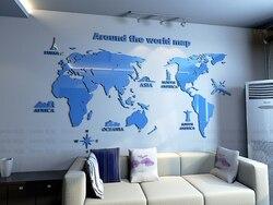 New arrival World map Acrylic mirror Wall sticker Creative Household office DIY art wall decor Living room bedroom decoration
