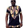 Dashiki africano impresso camisa dos homens patchwork tops de manga curta roupas roupas áfrica feito à medida