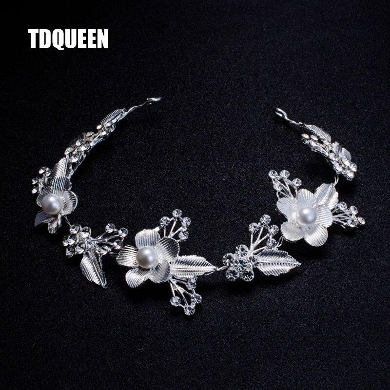 Wedding Bridal Hair Accessories Royal Tiara Silver Plated and Gold Color Metal Leaf Flower Crystal Hair Vine Tiara (7)