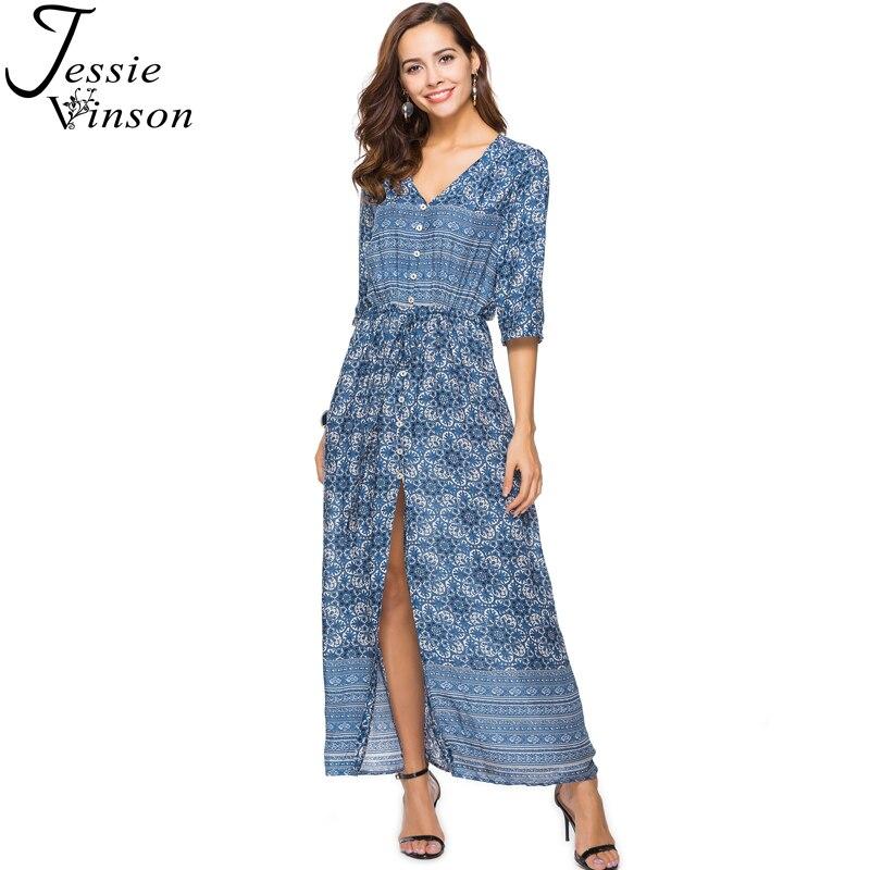60b024f74062 Jessie Vinson Plus Size Bohemian Style V-neck Half Sleeve Split Long Dress  Beach Summer. Φύλο. Γυναικεία. Στυλ. Μποέμ