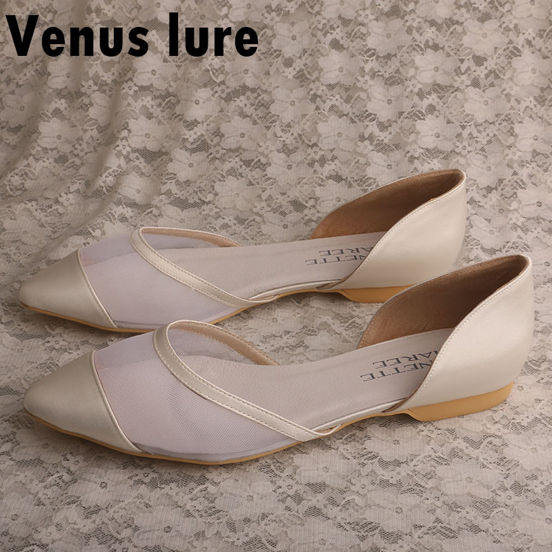 Customization Wedding Shoes Flats Luxury Womens Shoes Flats Ivory Satin