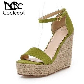 CoolCept verano de las mujeres cuñas sandalias de correa de tobillo zapatos de tacón alto con punta abierta zapatos de ocio diario Dropshipp calzado de mujer tamaño 34-39