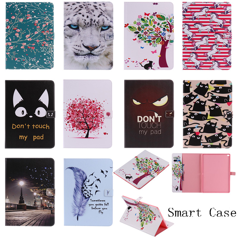 For iPad Pro Fashion Cute Cartoon Painted Stand Flip Leather Case sFor Apple iPad Pro 12.9 Smart Cover Case Auto Sleep Wake Up for apple ipad air 2 pu leather case luxury silk pattern stand smart cover