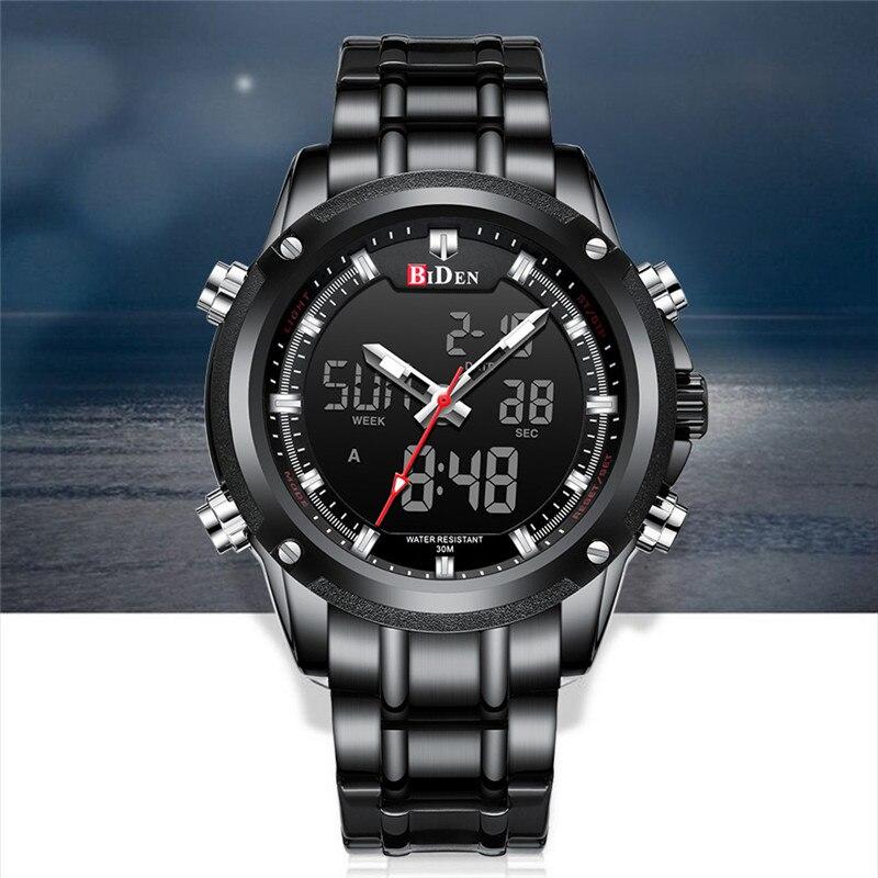 BIDEN TOP marque de luxe hommes montre Sport montres pour hommes numérique Quartz affaires bande en acier étanche horloge Reloj Hombre - 5