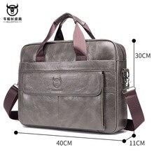 Briefcase Men Genuine Leather Bag Solid Zipper Business Shoulder Laptop Bag Fash