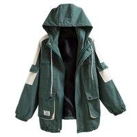 Outerwear & Coats Jackets Women Long Sleeve Spring Loose Jacket Casual Fashion Hooded Oversize Zipper Windbreaker Coat Student