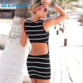 CharmDemon 2016 Women Sexy Backless Mini Dress Fashion Sleeveless Stripe Dress Slim Package Hip Dress jy15