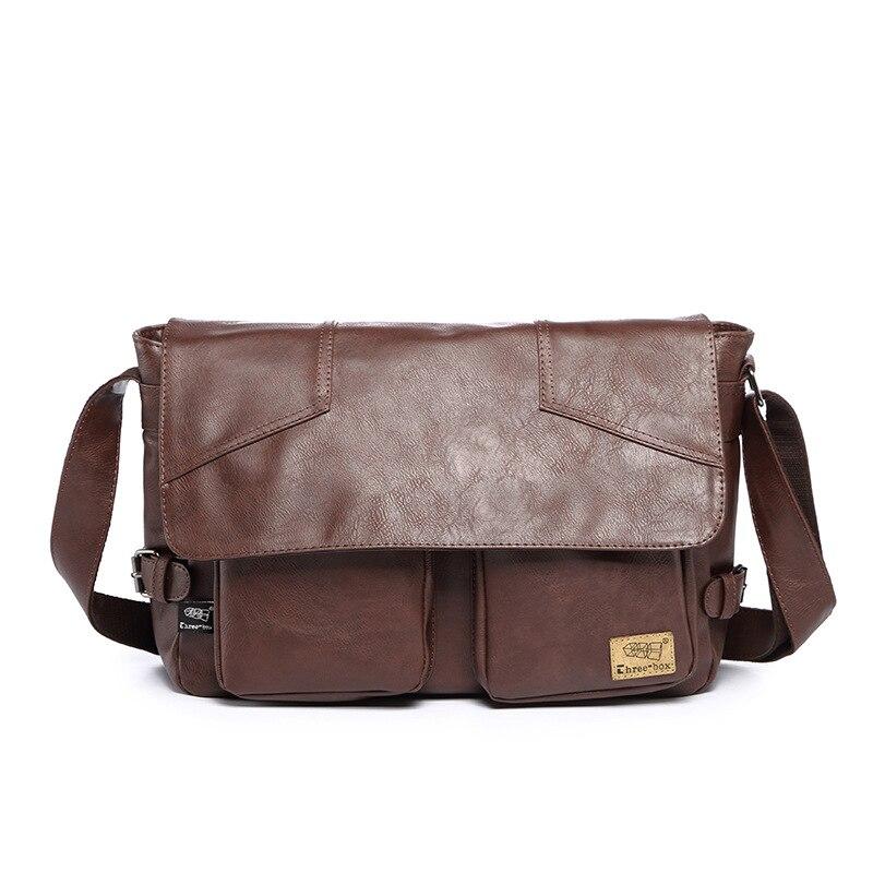 Three-box Brand Men Leather Casual Large Capacity Messenger Bag Man Vintage Crossbody Shoulder Bag Busines Travel Bags Bolsas 3