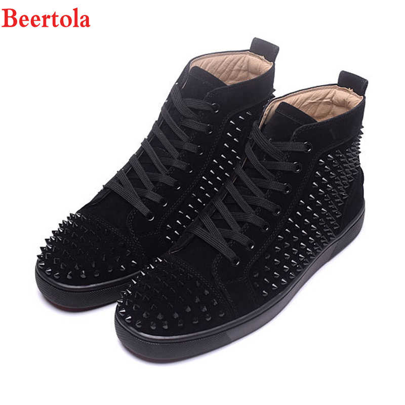 Beertola Luxury Brand Black Rivets Men s Shoes Gentleman Fashion Spike  Rivets Shoes Wedding Party Flats Derby 359f579cfdc3