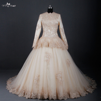 RSW783 Champagne Long Sleeve Muslim Wedding Dress Islamic Wedding Gowns