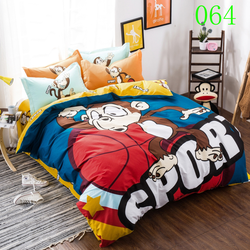 Cartoon Monkey Basketball Cotton Bedclothes Sets Bedding Set 4pc Bed Linens Duvet Cover Bedroom Cover Flat Sheets Pillowcase