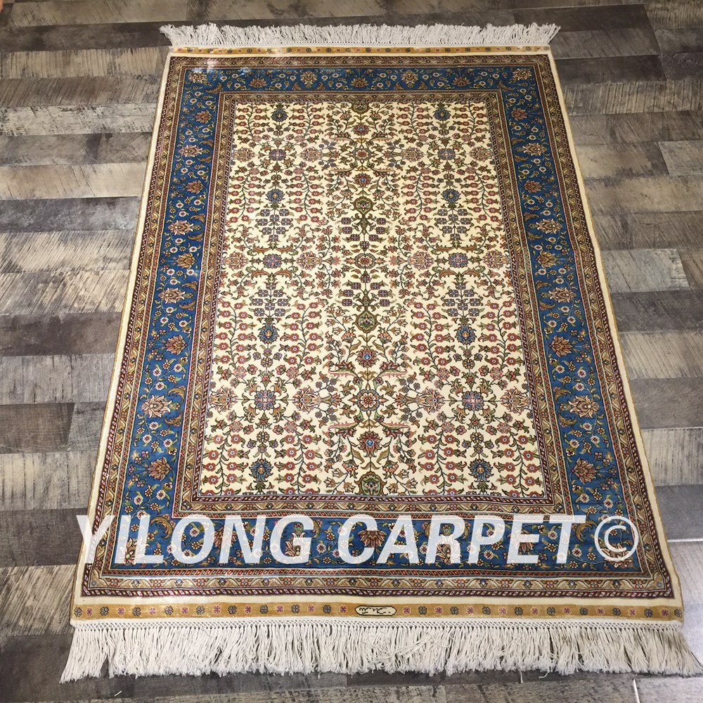 Tapis Beige persan fait main Yilong 3'x4. 5' tapis en soie Antique Oriental turc (QZT17A3x4.5)
