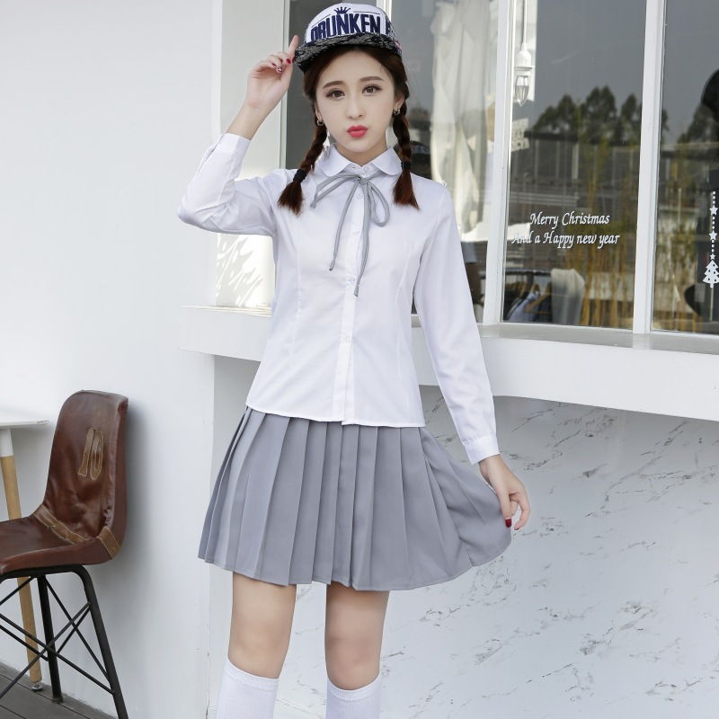 Japanese Spring College Uniform Japanese Teenager School Uniform Blouse Skirt Long Sleeved Sailor Suit School Uniform D-0199