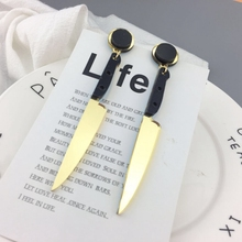 Acrylic Exaggerated Hip Hop Women Jewelry Gold  Long Knife Earrings