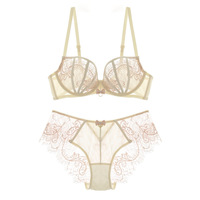 New Fashion Women Sexy Lingerie Mesh Lace Eyelash Ultra Thin Transparent Bra And Panty Sets For