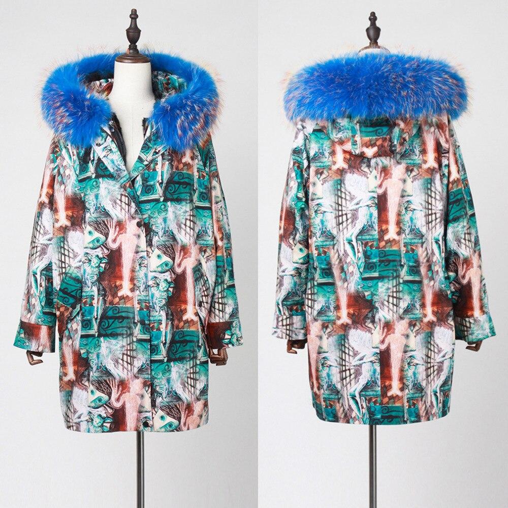 Avec Grand Manteau Garniture blue Réel Cocon De Coupe green Chaud Agneau Veste Histoire Black Femmes vent Raton 18108 Capot Laveur En Fourrure Doublure Style Parka Rue qxH5wYUw