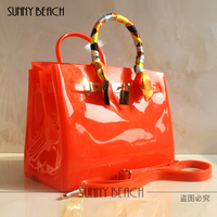 Free Shipping 2015 Top Design High Quality Women Fashion Pink Color Jelly Bag Beach Bag