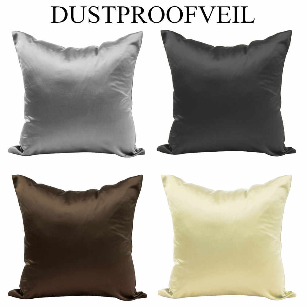 40x40cm Simple Solid Color Comfortable Satin Pillowcase Sofa Seat Cushion Cover Car Chair Pillow Case Hidden Zipper Home Decor