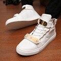 Новая Весна Осень Мужчина Высокого Помощь Обувь Мода Металла Знак высокое Качество PU И Наоборот Досуг мужская Обувь Бесплатная Доставка
