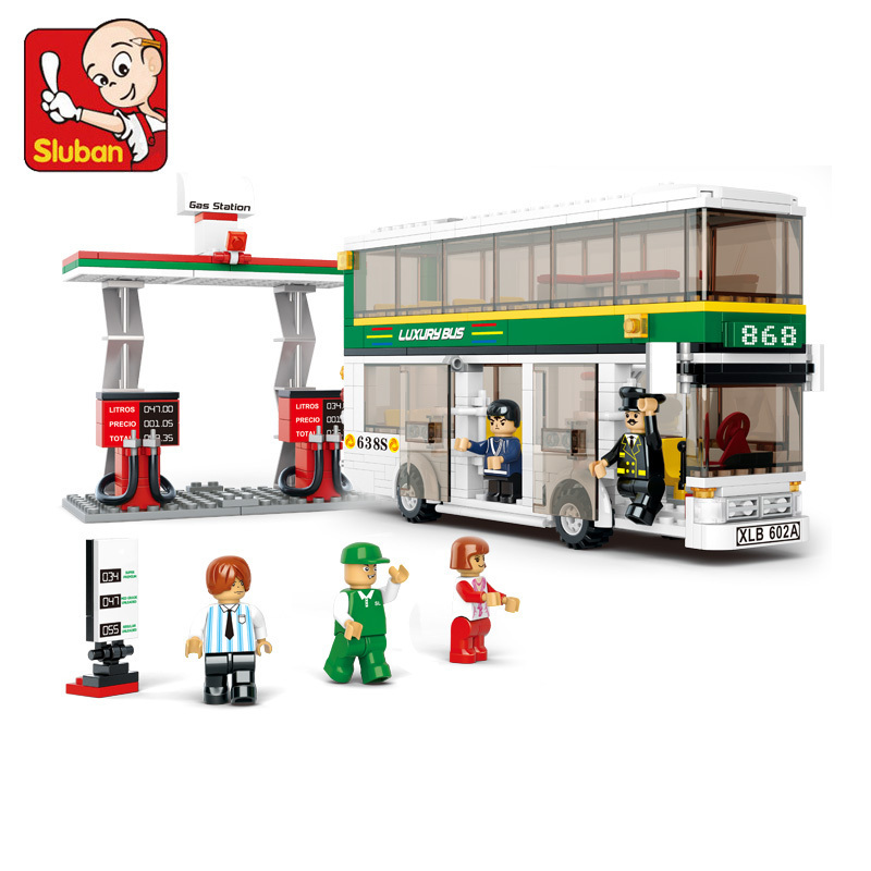 Sluban model building kits compatible with font b lego b font city bus 663 3D blocks