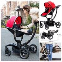 V Детские Роскошные зрения Mutifunctional путешествия Системы Детские коляски коляска багги Портативный складывая четыре колеса новорожденных ко