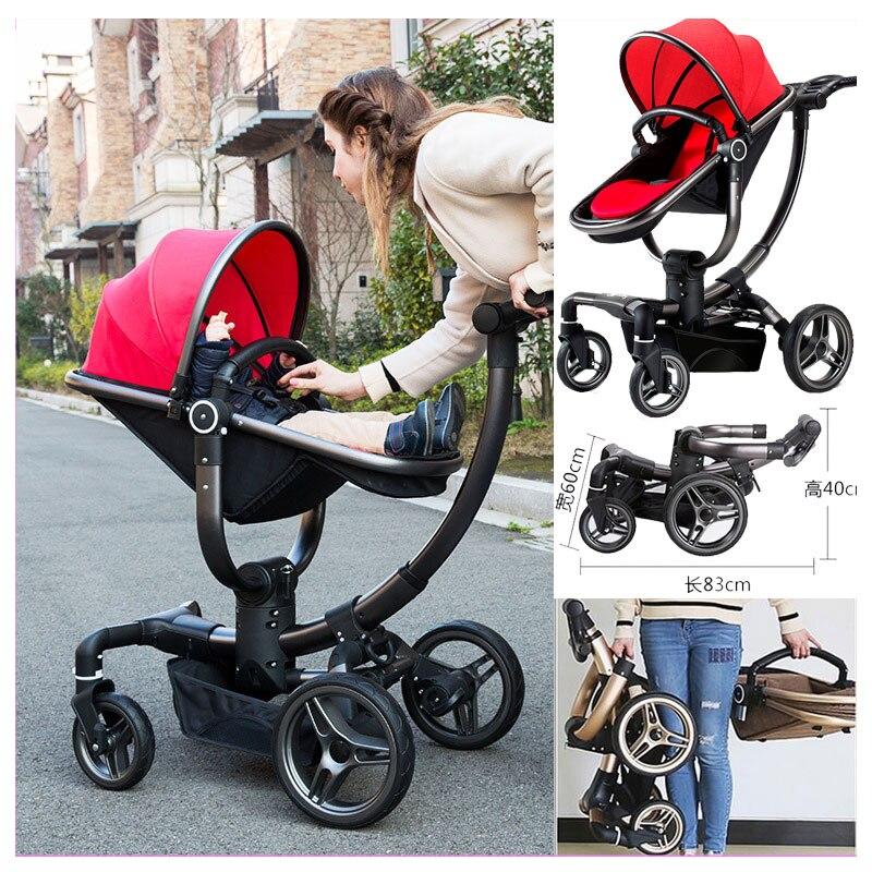 c5da857f377b V baby Luxury High View Mutifunctional Travel System Baby Stroller Pram  Buggies Portable Folding Four Wheels Newborn Pushchair-in Mutiple Stroller  from ...