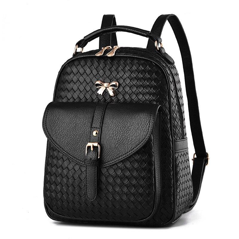 New Fashion Small Pu Leather Knitting Backpack Women School Bags for Teenager Girls Backpacks Rivet Shoulder Bag Black Back Pack