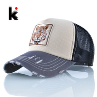Snapback Hip Hop Trucker Hats For Men Breathable Mesh Bones Summer Tiger Baseball Caps Women Patch