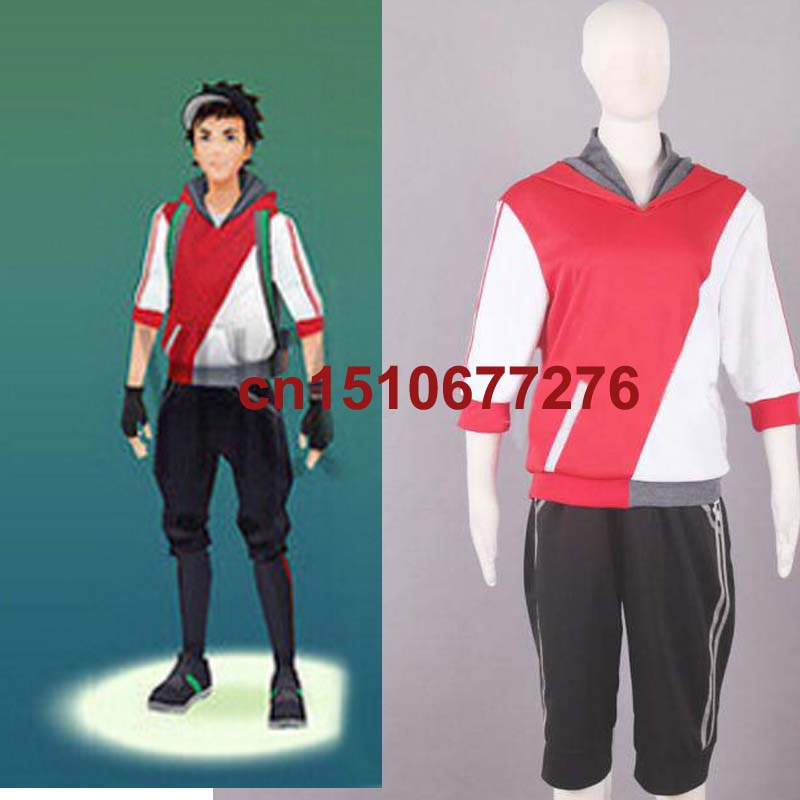 New Game Pokemon Go Trainer Cosplay Red costume Custom Made