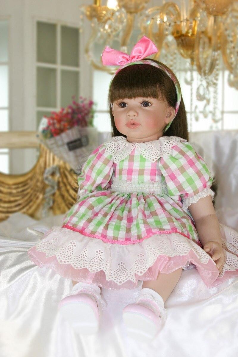 "24/"" Beautiful Simulation Baby Long Hair Girl Wearing Blue Purple Plaid Skirt Dol"