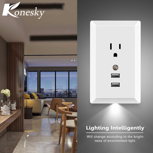Konesky us ac socket wall outlet with led night light and 2 usb konesky us ac socket wall outlet with led night light and 2 usb ports built mozeypictures Choice Image